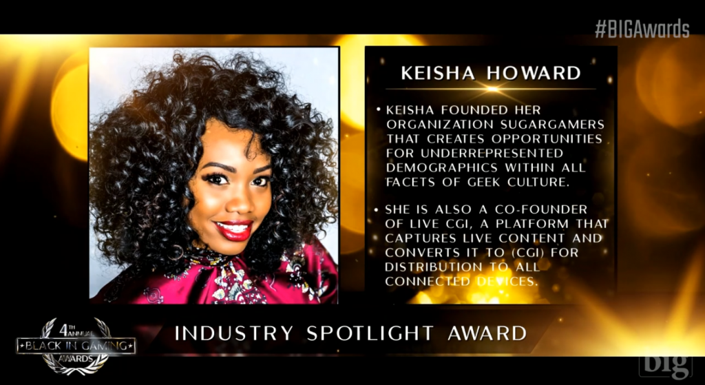Keisha Howard received the Industry Spotlight Award at the 4th Annual Black in Gaming Awards at PAX Online
